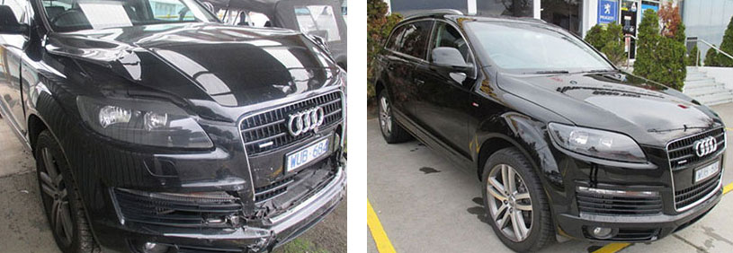 prestige audi smashed car repaired